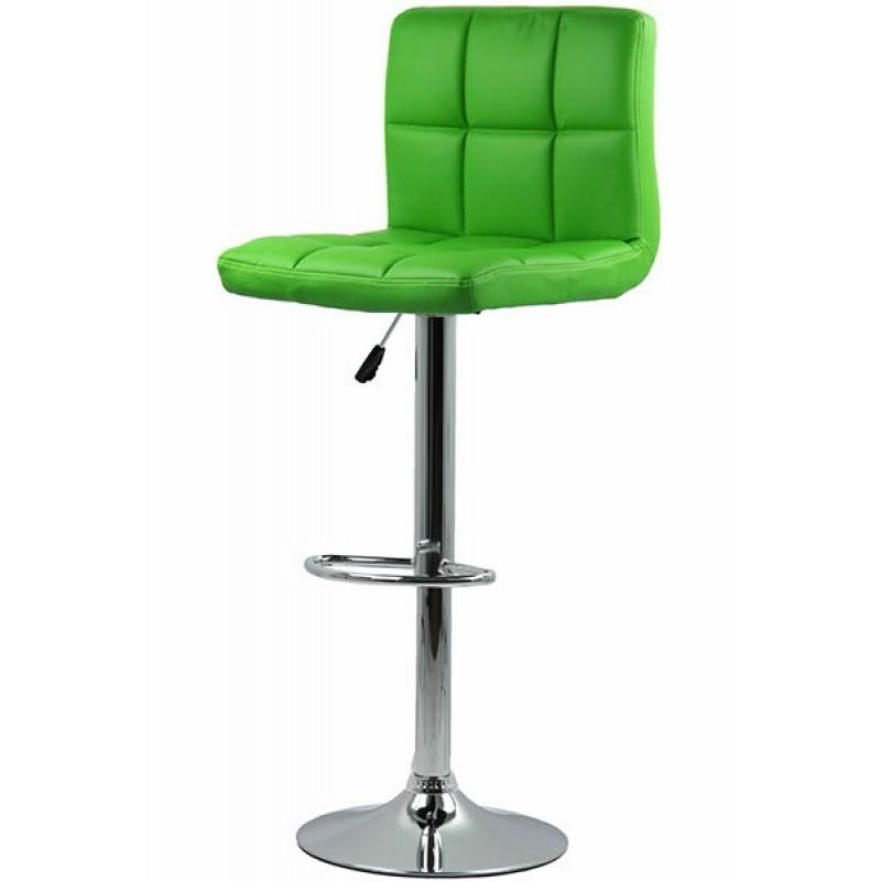 Scaun pentru bar, rotativ, otel cromat, piele sintetica, inaltime 113 cm, Verde shopu.ro