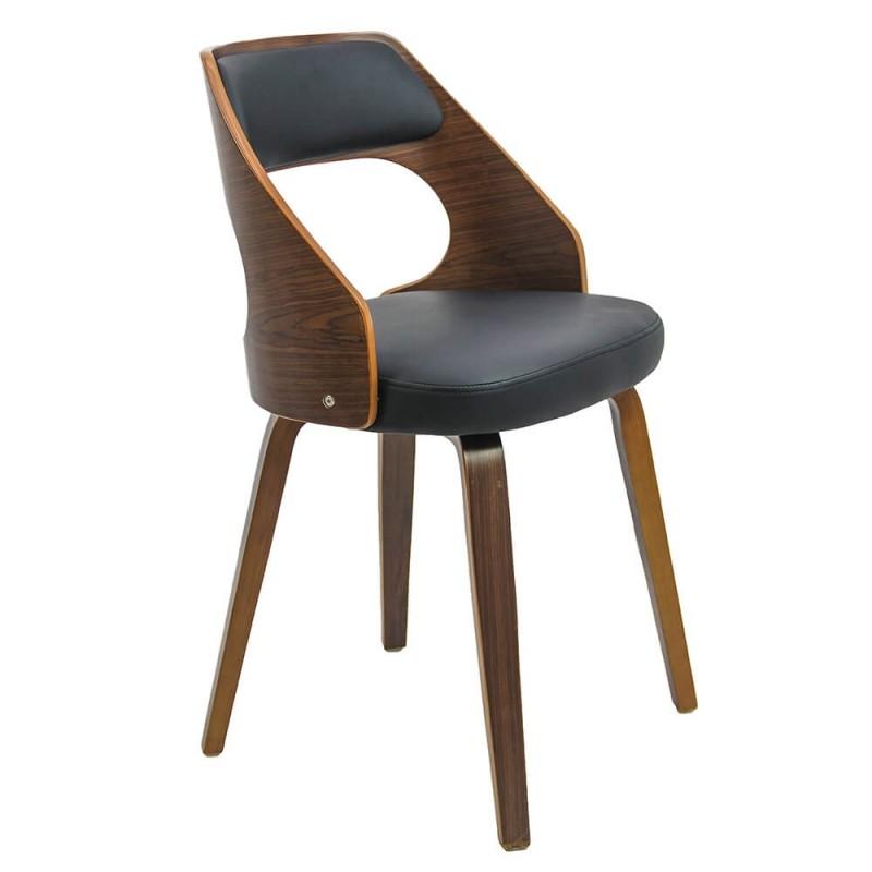 Scaun pentru bucatarie, structura lemn natural, tapiterie piele ecologica, Negru 2021 shopu.ro