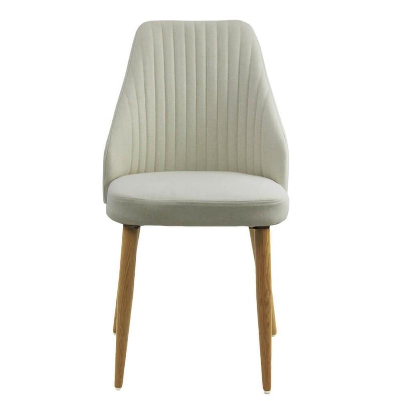Scaun pentru bucatarie, 4 picioare din otel, tema lemn natural, Crem shopu.ro