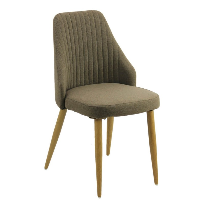 Scaun pentru bucatarie, 4 picioare din otel, tema lemn natural, Maro 2021 shopu.ro