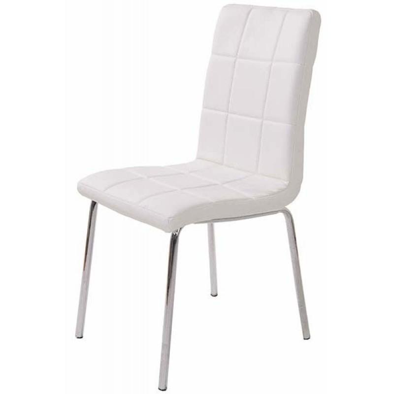 Scaun pentru bucatarie, design minimalist, piele ecologica mata, Alb shopu.ro