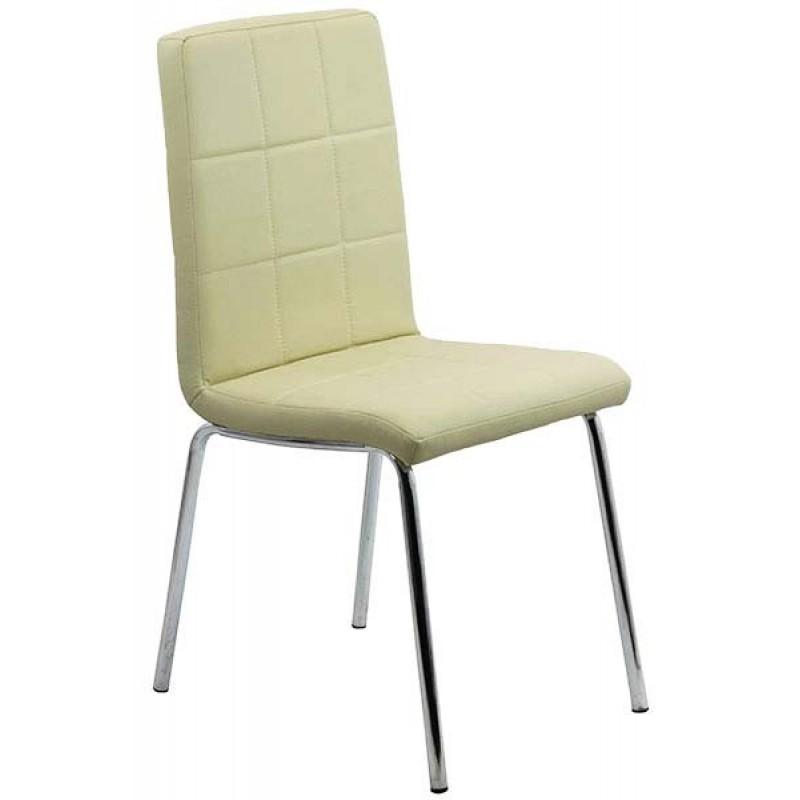 Scaun pentru bucatarie, design minimalist, piele ecologica mata, Crem 2021 shopu.ro