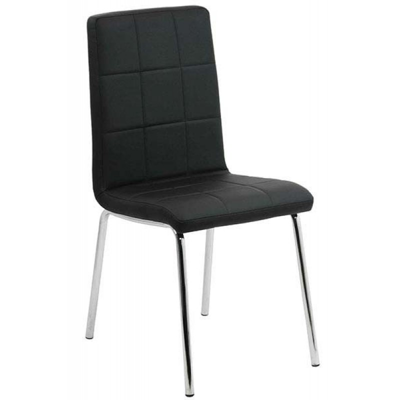 Scaun pentru bucatarie, design minimalist, piele ecologica mata, Negru 2021 shopu.ro