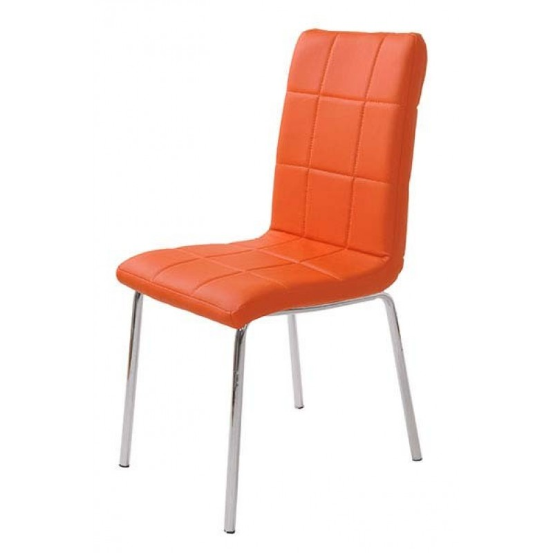 Scaun pentru bucatarie, design minimalist, piele ecologica mata, Portocaliu 2021 shopu.ro