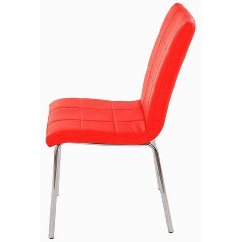 Scaun pentru bucatarie, design minimalist, piele ecologica mata, Rosu 2021 shopu.ro