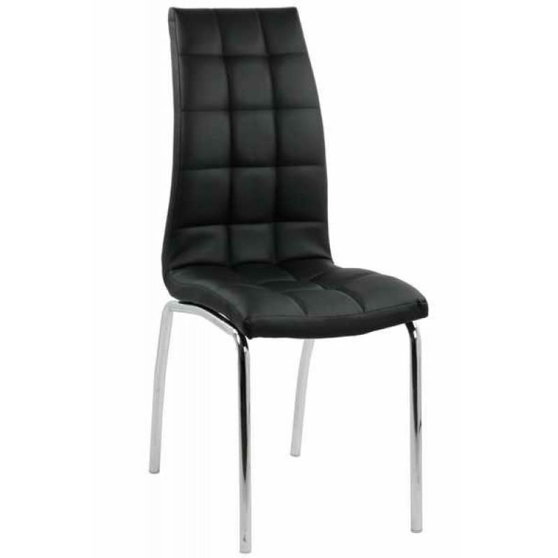 Scaun pentru bucatarie, piele ecologica, picioare finisaj crom, inaltime 95 cm, Negru