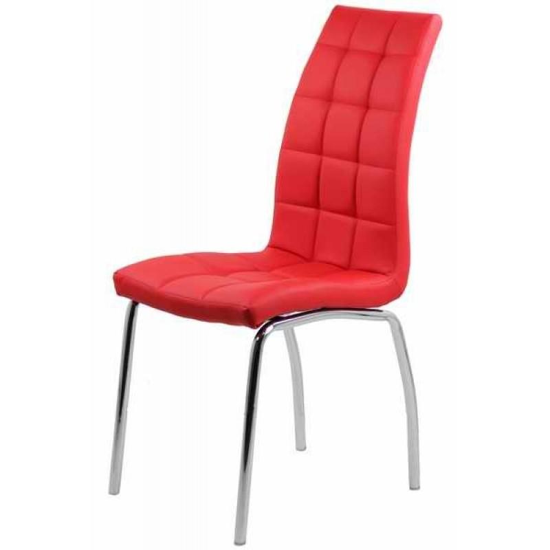 Scaun pentru bucatarie, piele ecologica, picioare finisaj crom, inaltime 95 cm, Rosu