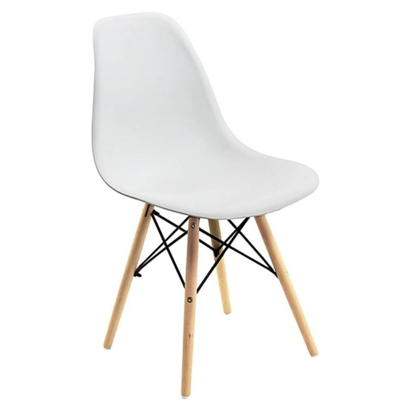 Scaun pentru bucatarie, scoica din plastic ABS, picioare lemn de fag, Alb 2021 shopu.ro