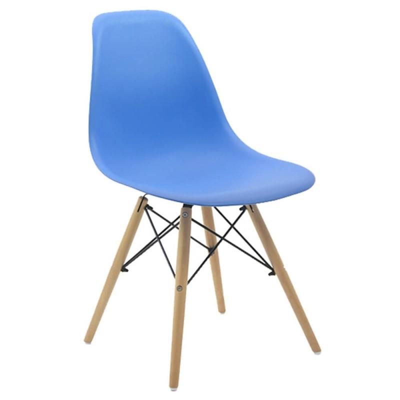 Scaun pentru bucatarie, scoica din plastic ABS, picioare lemn de fag, Albastru 2021 shopu.ro