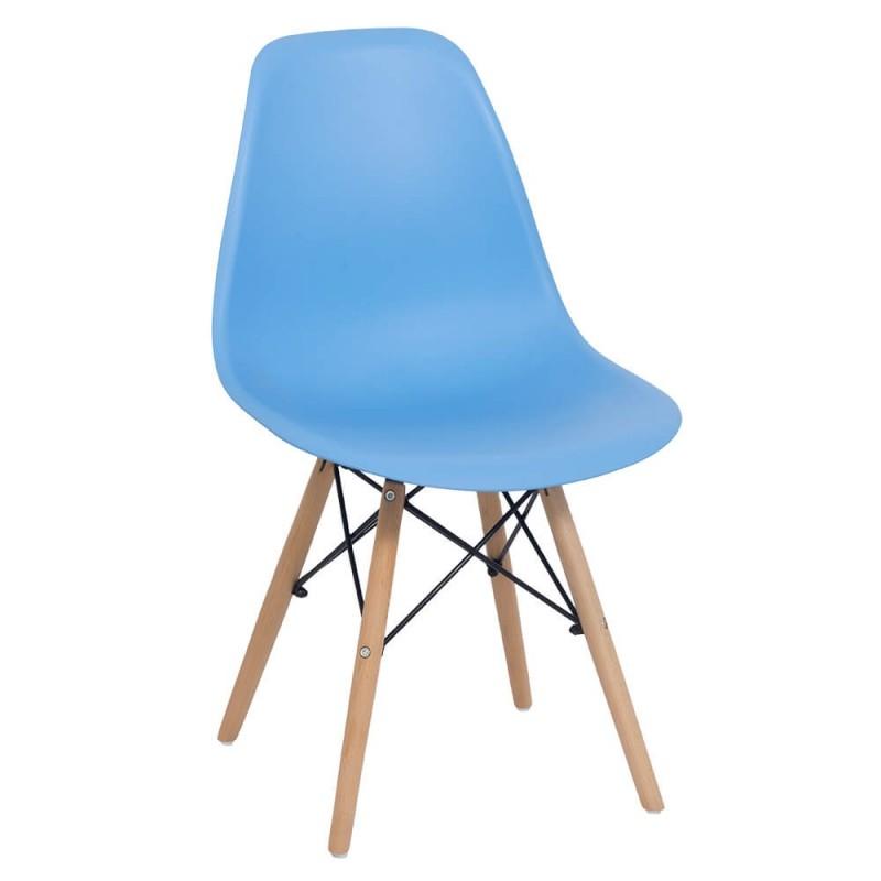Scaun pentru bucatarie, scoica din plastic ABS, picioare lemn de fag, Bleu 2021 shopu.ro