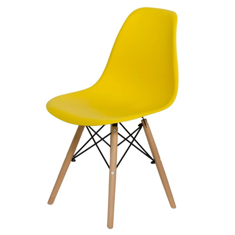 Scaun pentru bucatarie, scoica din plastic ABS, picioare lemn de fag, Galben 2021 shopu.ro