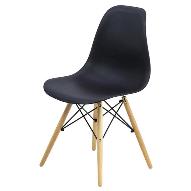 Scaun pentru bucatarie, scoica din plastic ABS, picioare lemn de fag, Negru shopu.ro
