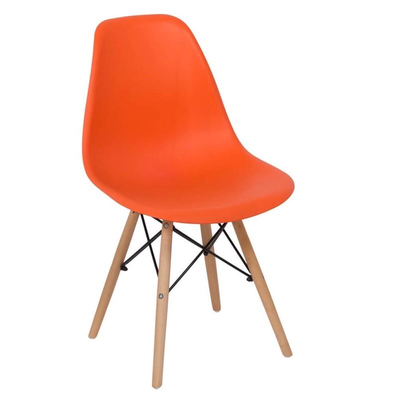 Scaun pentru bucatarie, scoica din plastic ABS, picioare lemn de fag, Portocaliu 2021 shopu.ro