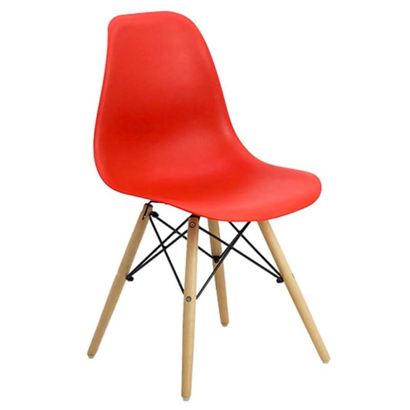 Scaun pentru bucatarie, scoica din plastic ABS, picioare lemn de fag, Rosu 2021 shopu.ro