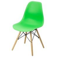 Scaun pentru bucatarie, scoica din plastic ABS, picioare lemn de fag, Verde