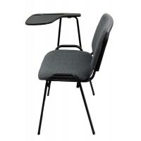 Scaun conferinta cu masuta, tapitat cu stofa, inaltime 82 cm, gri