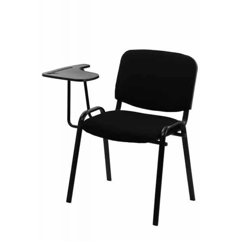 Scaun conferinta cu masuta, tapitat cu stofa, inaltime 82 cm, negru shopu.ro