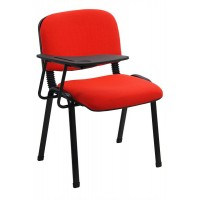 Scaun conferinta cu masuta, tapitat cu stofa, inaltime 82 cm, rosu