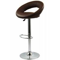Scaun pentru bar rotativ, inaltime reglabila, piele ecologica, Maro