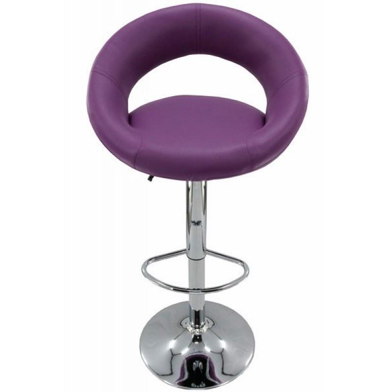 Scaun pentru bar rotativ, inaltime reglabila, piele ecologica, Mov 2021 shopu.ro