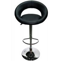 Scaun pentru bar rotativ, inaltime reglabila, piele ecologica, Negru