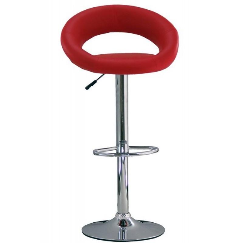 Scaun pentru bar rotativ, inaltime reglabila, piele ecologica, Rosu 2021 shopu.ro