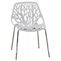 Scaun pentru dining, decupat cu forme, cadru din metal, inaltime 80 cm, Alb