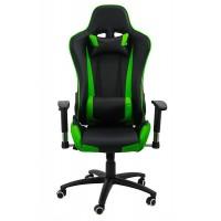 Scaun pentru gaming, inaltime maxima 134 cm, suporta 110 kg, Negru/Verde
