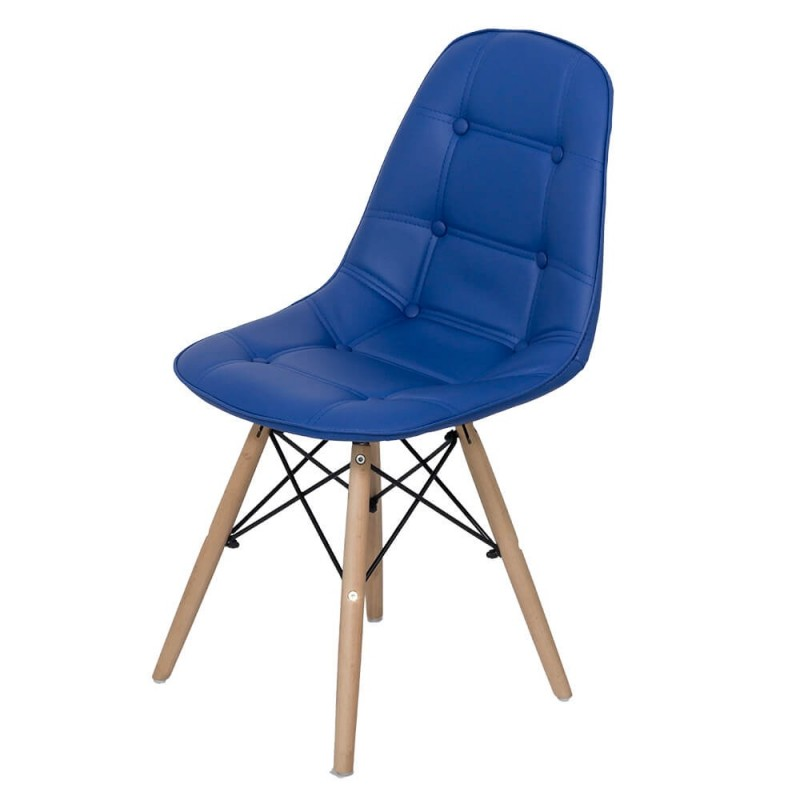 Scaun living, piele ecologica, inaltime 84 cm, suporta maxim 110 kg, albastru 2021 shopu.ro