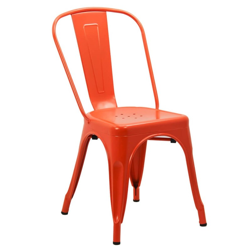 Scaun metalic, inaltime 85 cm, suporta maxim 110 kg, portocaliu shopu.ro