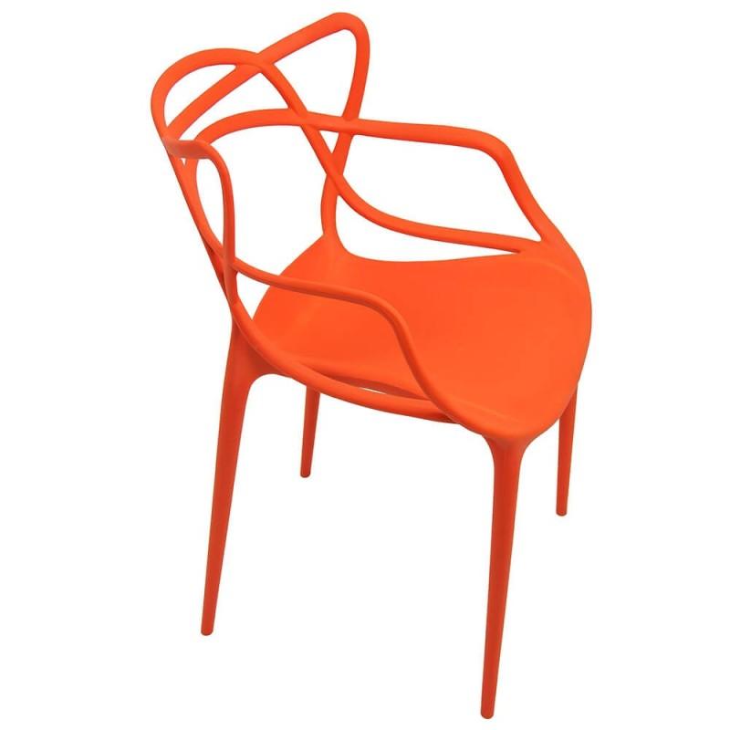 Scaun plastic pentru terasa, inaltime 83 cm, suporta maxim 100 kg, portocaliu shopu.ro