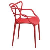 Scaun plastic pentru terasa, inaltime 83 cm, suporta maxim 100 kg, rosu