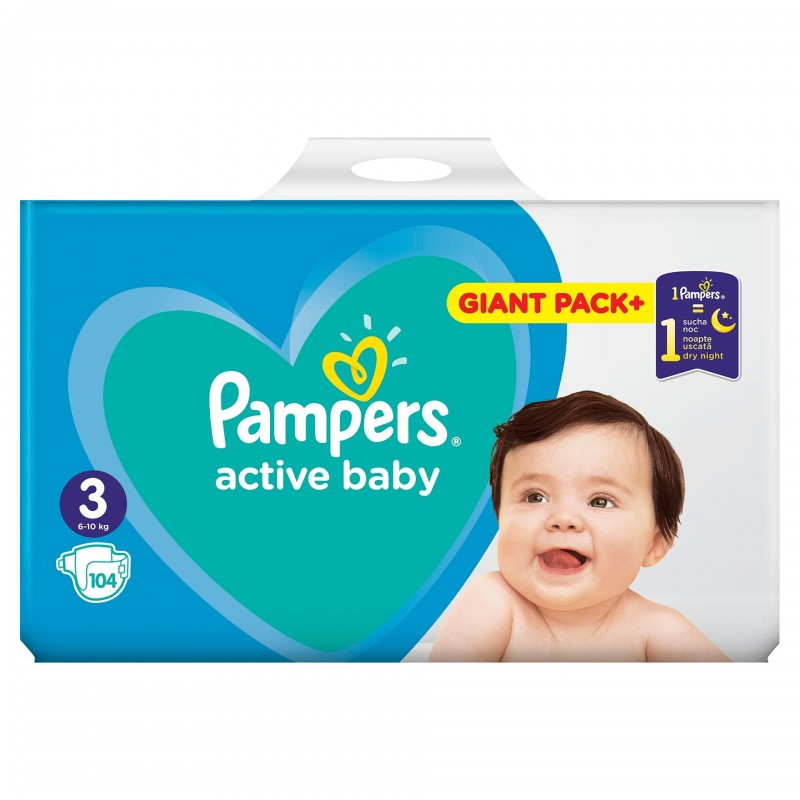 Scutece Pampers Active Baby 3 Giant Pack, 6-10 kg, 104 bucati 2021 shopu.ro