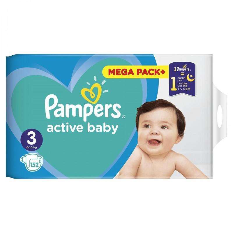 Scutece Pampers Active Baby 3 Junior Mega Box, 152 buc/pachet 2021 shopu.ro