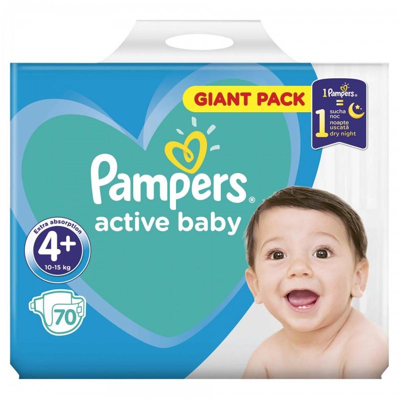 Scutece Pampers Active Baby 4+ Giant Pack, 70 buc/pachet 2021 shopu.ro