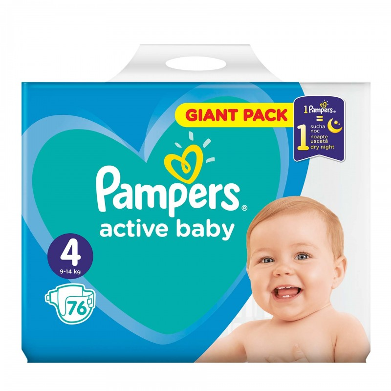 Scutece Pampers Active Baby 4 Giant Pack, 76 buc/pachet 2021 shopu.ro