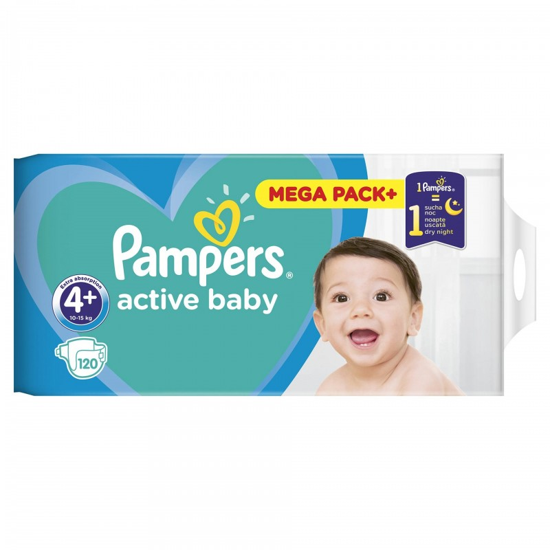 Scutece Pampers Active Baby 4+ Mega Box, 120 buc/pachet 2021 shopu.ro