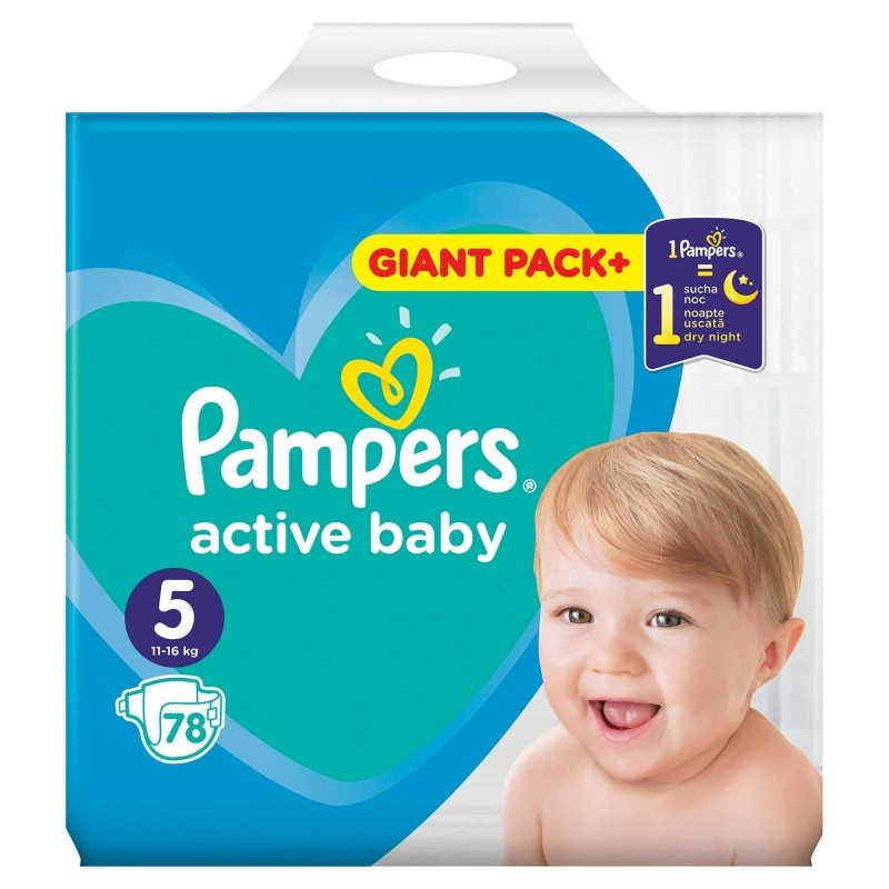Scutece Pampers Active Baby 5 Giant Pack, 11-16 kg, 78 bucati 2021 shopu.ro