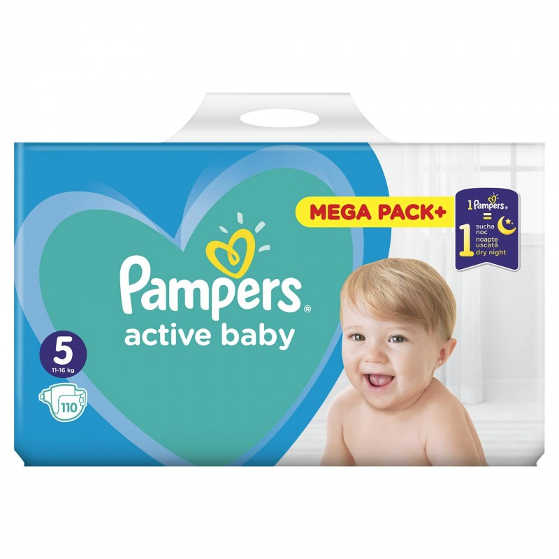 Scutece Pampers Active Baby 5 Mega Box, 110 buc/pachet 2021 shopu.ro