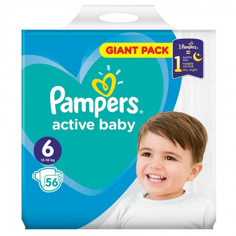 Scutece Pampers Active Baby 6 Giant Pack, 56 buc/pachet 2021 shopu.ro