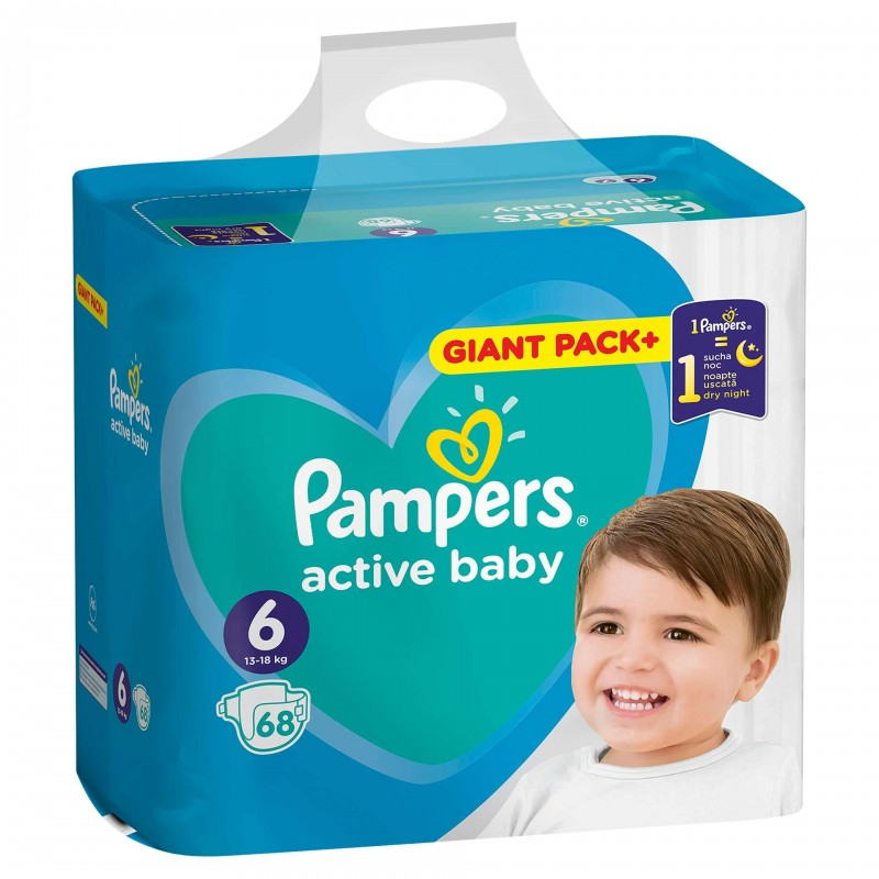 Scutece Pampers Active Baby 6 Giant Pack, 13-18 kg, 68 bucati 2021 shopu.ro
