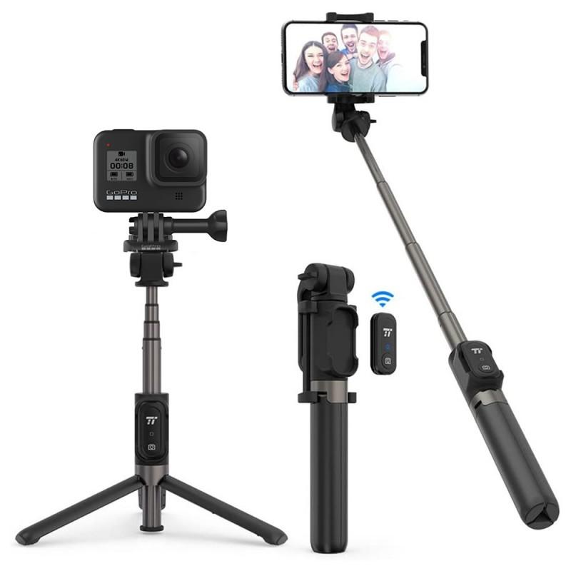 Selfie Stick TaoTronics TT-ST002, telecomanda detasabila, bluetooth, clema prindere, tripod, 65 mAh, Negru 2021 shopu.ro
