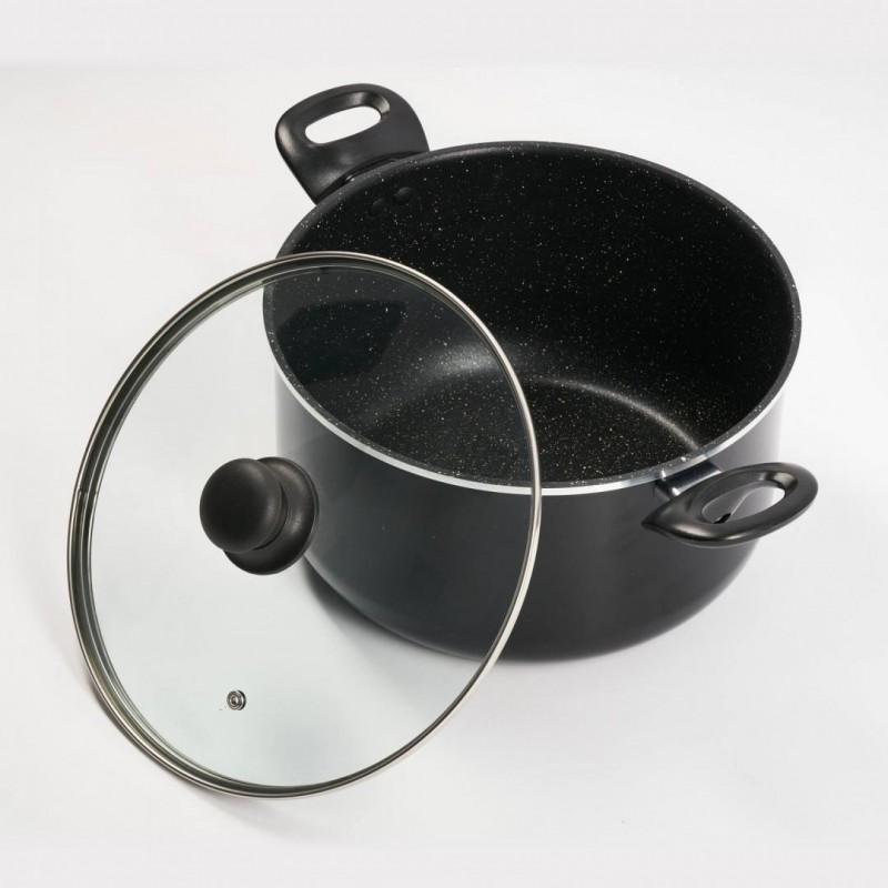 Semioala Vanora Home Sole, 26 x 15 cm, 6.4 L, manere bachelita, margine polisata, capac termorezistemt, strat antiaderent, aluminiu, Negru