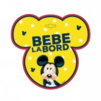Semn auto Bebe la Bord Mickey Mouse, usor de montat, 18 x 18 cm