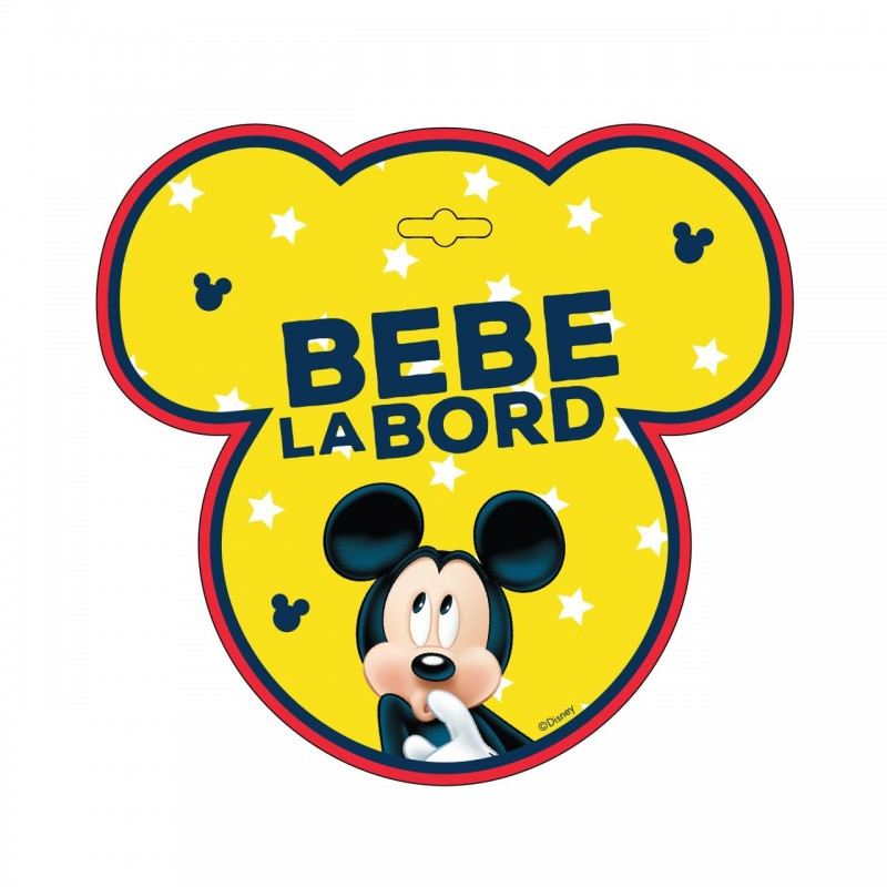 Semn auto Bebe la Bord Mickey Mouse, usor de montat, 18 x 18 cm 2021 shopu.ro
