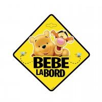 Semn auto Bebe la Bord Winnie the Pooh, usor de montat, 13 x 13 cm