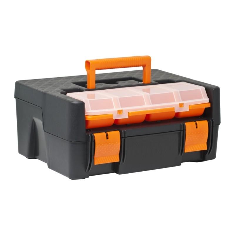 Cutie scule Handy, 310 x 165 x 230 mm, maner plastic, Negru/Portocaliu 2021 shopu.ro