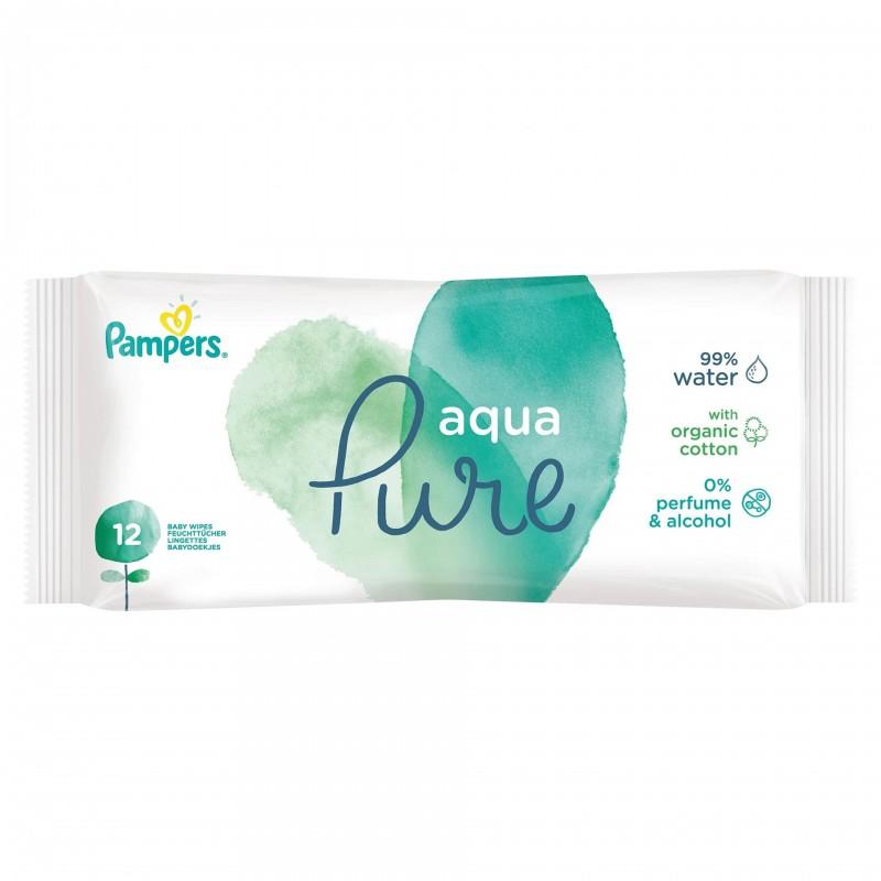 Servetele umede Pampers Aqua Pure, 12 bucati, fara alcool si parfum, bumbac organic 2021 shopu.ro