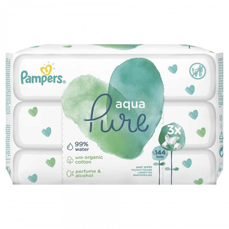 Servetele umede fara parfum Pampers Aqua Pure, 144 bucati 2021 shopu.ro