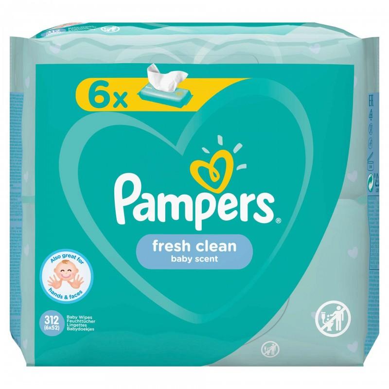 Servetele umede Pampers Fresh Clean 6pk, 6 x 52 buc 2021 shopu.ro